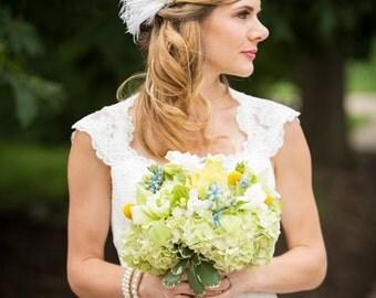 Fascinator, Wedding Headpiece, Bridal Headpiece, Bridal Fascinator, Wedding Veil, 1920s Headpiece, Pearl and Rhinestones, Ivory Fascinator