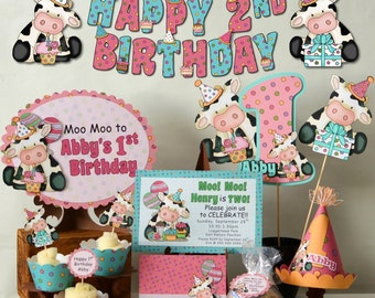 COW First Birthday Party BANNER or Baby Shower Banner