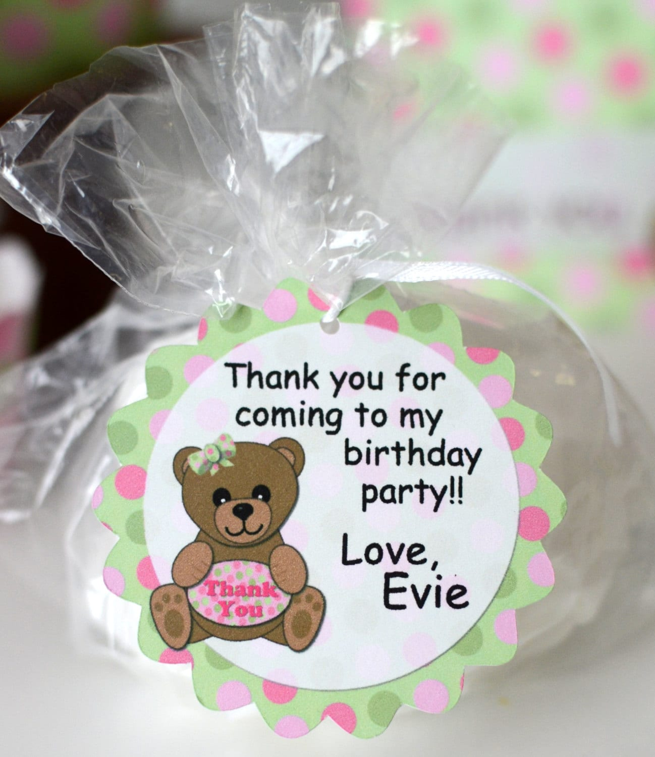Girl Pink Teddy Bear Baby Shower FAVOR TAG or 1st Birthday