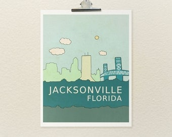 Home Decor Kids Children Nursery Wall Art Print // Jacksonville Florida // Skyline Illustration and Typography City Travel Art Print