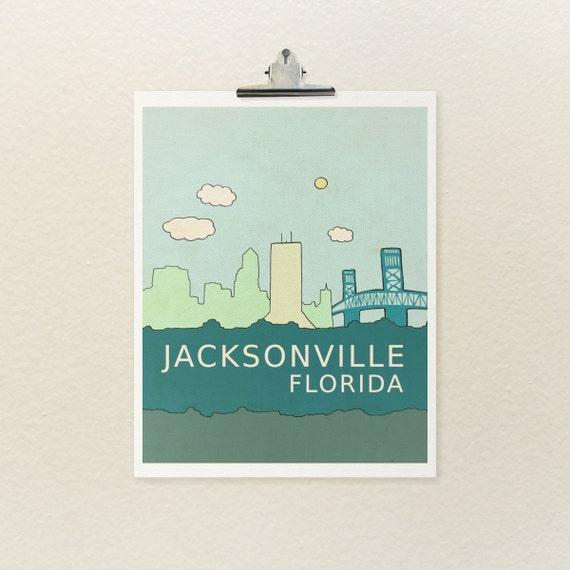 Home Decor Kids Children Nursery Wall Art Print // Jacksonville Florida // Skyline Illustration and Typography City Travel Art Print