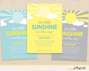 Sunshine Baby Shower invitation - set of 12