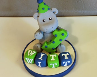 Custom Hippo Custom Cake Topper for Birthday or Baby Shower
