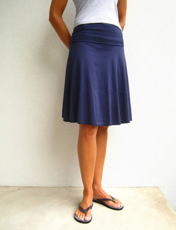knee length cotton blend skirt fold by greenlinebyk