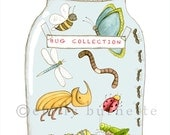 My Bug Collection - insects bugs beetles - Childrens wall art print - Art for boys - Emily Burnette Recipe 4 Cute