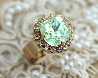 Mint ring, Mint Swarovski Ring,Clear mint ring,Mint crystal ring,Mint Swarovski gold ring,gift for her,Christmas gift,Crystal mint ring