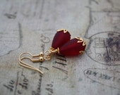 Red Sea Glass Earrings Sea Glass Jewelry Seaglass Jewelry Red Earrings Wedding Jewelry Bridesmaid Jewelry Bridal Jewelry Mom Mother Gift 042