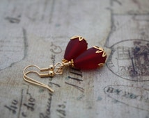 Sea Glass Earrings Sea Glass Jewelry Seaglass Jewelry Red Earrings Wedding Jewelry Bridesmaid Jewelry Bridal Jewelry Mom Mother Gift 042