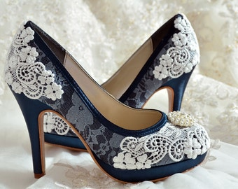 Wedding Shoes - Custom Colors 250 Choices - PBT-0382 Vintage Bridal Shoes-  Lace , Pearl Brooch, Women's Bridal Shoes