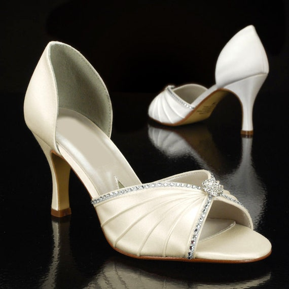 Wedding Shoes 2 3 4 Heels Peep Toe Silk Satin