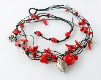 Red Coral Necklace, Multistrand Knotted Thread Red Coral Silver Fish & Flower Charms Handmade Boho Necklace, Red Coral Jewelry, Gift for Her