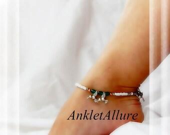 I'll Follow You Hummingbird Anklet Aqua Crystal Silver Ankle Bracelet