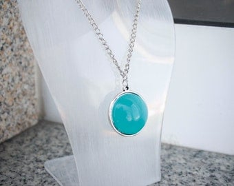 Blue Pearl Charm Minimalist Longe Double Sided Necklace