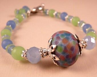 Lampwork Bracelet Beaded Artisan Bracelet Lampwork Jewelry Crystal Jewelry Beaded Jewelry Beaded Bracelet Blue Jewelry