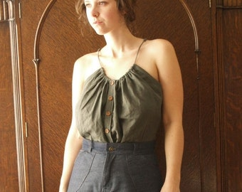 Hand dyed tissue linen button front peasant tank with adjustable straps- custom made to measure