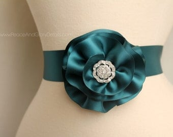 Teal Flower Sash Sash Set - 3 in 1 - Double Faced Satin Ribbon Sash - Bridal Bridesmaids Flower girl Sashes