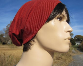 Cotton Slouchy Knit Hat Beanie Rust Orange Lightweight Mens Long Back Tam Long Back Tam A977