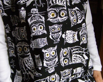 Adult Shirt Protector Bib extra long Black/White Owls reversible