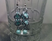 Captured Sky Blue Pearl Chainmaille Earrings