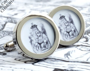 The King of Hearts Cufflinks from Alice in Wonderland for Romance, Weddings and Grooms