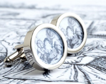 The Doormouse Cufflinks from Alice in Wonderland for Romance, Weddings and Grooms