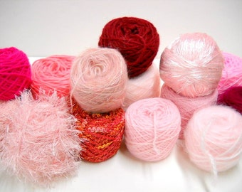 Mixed Lot Mystery Yarn Box, Princess Pink Vintage Yarn, Knitting Supplies, Crochet Supplies, ybox2/pink