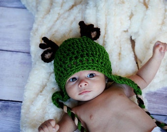 Green Deer Hat- buck antlers whitetail hunting- newborn to 18 month sizes