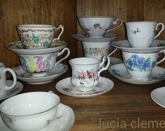PHOTO OF Mismatched Bright Colors Vintage Antique China Porcelain Teacups & Saucers 8x10 Fine Art Print