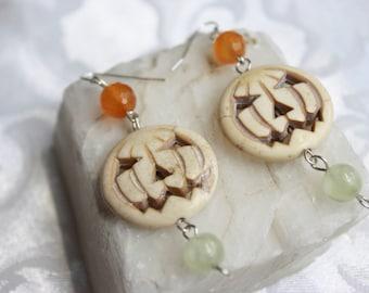 Halloween Pumpkin Sterling Silver Earrings with Carnelian and Prehnite Gemstones Day of the Dead Dia de Los Muertos White Howlite Pumpkins