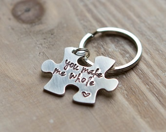Puzzle Piece Key Chain - Hand Stamped Custom Key Chain - Copper Brass or Aluminum - You Make Me Whole - Gift For Him - Father's Day Gift