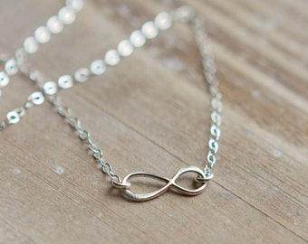 Infinity Necklace - Tiny Infinity Charm - Sterling Silver - Layering Necklace - Everyday Necklace - Anniversary Gift - Christmas Gift