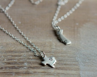 State Love Necklace - Home State Necklace - Sterling Silver Handstamped Necklace - 15 States - Texas California