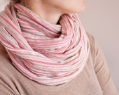 Stripe Infinity Scarf Versatile Cowl chunky Loop cowl pastel pink neutral knit urban Circle scarf Modern scarf