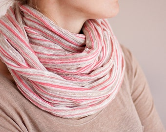 Stripe Infinity Scarf Versatile Cowl chunky Loop cowl pastel pink neutral knit urban Circle scarf Modern scarf