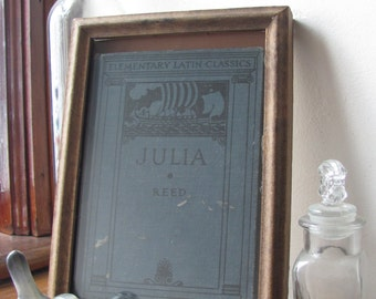 Julia / Framed Antique Latin Book / Book as Art