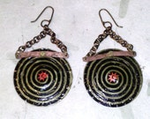 Hypnotic Spiral Earrings with Recycled Magic Hat Beer Caps
