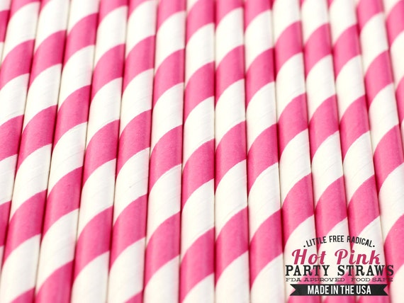 HOT PINK Striped Eco-friendly Paper Party Straws & Digital Flags - - -Made in the U S A - - - Fda approved - - - Ships within 1 Business Da