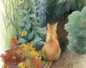 "Orange cat in a green garden - Art Reproduction (Print) - ""Curiosity"""