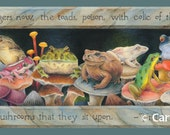 "Bookmark - Toads and frogs sitting on exotic mushrooms with Tristan Corbière quote, dark, spooky - ""A Host of Toads"" - GREAT gift for reader"