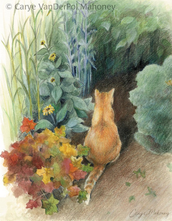 "Orange cat in a green garden - Art Reproduction (Print) - ""Curiosity"""
