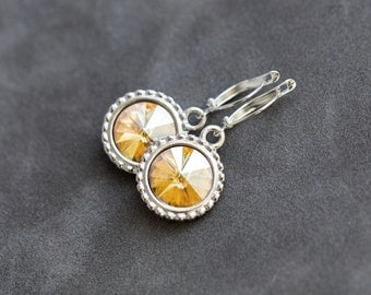 Drop Citrine Earrings, Custom Birthstone Jewelry, Dangles, November Birthstone Earrings, November Citrine Jewelry