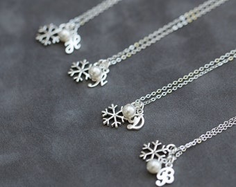 Winter Bridesmaid Necklace Gift Set of 4 Four, Personalized Winter Wedding Jewelry, Initial Pearl Snowflake Necklace