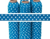 Blue with White Polka Dots - Print Fold Over Elastic - 5 YARDS