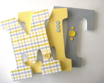 Childrens Room Decor - Yellow and Gray Grey - Custom Wood Letters for Baby Boy Nursery