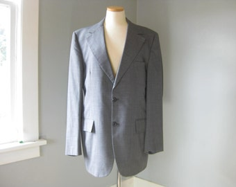 1960s Vintage Charcoal Grey Men's Suit Jacket, Mid Century, Mad Men