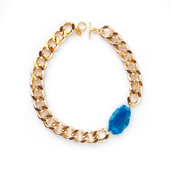Athena Necklace - Gold Chunky Chain Link with Turquoise Blue Agate