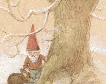 Caring Gnome and Mouse 5x7 Print