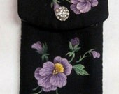 Ipod or Cell Phone Case Purple with Lavendar Floral Cotton Fabric Rhinestone Button Velcro Closure