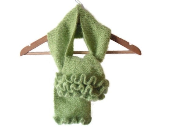 Emerald green scarf  , frilly accessory , Womens winter scarf  hand knitted in mohair , fuzzy frilly neck wrap ,  mothers day gift