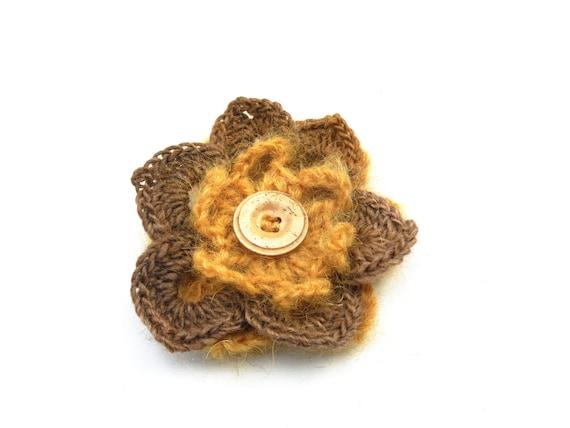 Mustard Gold Yellow flower brooch - crochet flower pin - 100% wool and mohair